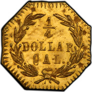 USA 1/4 Dollar Small Indian Head (Octagonal) 1881 KM# 2.3 1/4 DOLLAR CAL coin reverse