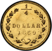 USA 1/4 Dollar Small Liberty head (Round) 1869 G KM# 5.4 1/4 DOLLAR *YEAR* coin reverse