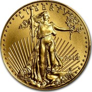 USA 10 Dollars American Eagle 2014 KM# 217 LIBERTY DATE W ASG coin obverse