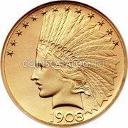 USA $10 Ten dollars (Eagle) Indian Gold Eagle 1908 KM# 130 LIBERTY DATE coin obverse