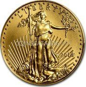 USA $10 Ten Dollars Gold American Eagle 2014 KM# 217 LIBERTY DATE W ASG coin obverse