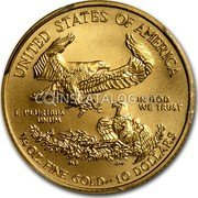 USA $10 Ten Dollars Gold American Eagle 2014 KM# 217 UNITED STATES OF AMERICA IN GOD WE TRUST E PLURIBUS UNUM 1/4 OZ. FINE GOLD ~ 10 DOLLARS coin reverse