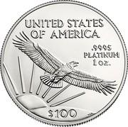 USA $100 American Eagle 2017 KM# 286 UNITED STATES OF AMERICA .9995 PLATINUM 1 OZ. W $100 TDR coin reverse