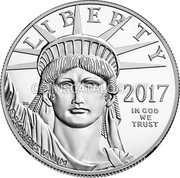 USA $100 One hundred Dollars Platinum American Eagle 2017 KM# 286 LIBERTY JM  IN GOD WE TRUST E PLURIBUS UNUM coin obverse