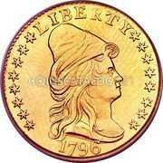 USA $2.50 Two and half Dollars (Quarter eagle) Liberty Cap - Quarter Eagle 1796 stars KM# 27 LIBERTY coin obverse