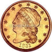 USA $2.50 Two and half Dollars (Quarter eagle) Turban Head 1831 KM# 49 LIBERTY coin obverse