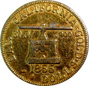 USA 20 Dolls. 1855 KM# 21 Blake & Company SAC. CALIFORNIA GOLD SMV .900 20 DOLLS. coin obverse