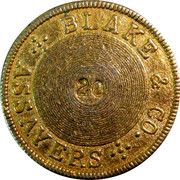 USA 20 Dolls. 1855 KM# 21 Blake & Company BLAKE & CO. ASSAYERS 20 coin reverse