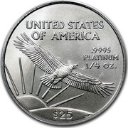 USA $25 American Eagle 2008 Burnished Unc. KM# 284 UNITED STATES OF AMERICA .9995 PLATINUM 1/4 OZ. $25 coin reverse