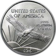 USA $25 Twenty five Dollars American Platinum Eagle 2008 Burnished Unc. KM# 284 UNITED STATES OF AMERICA .9995 PLATINUM 1/4 OZ. $25 coin reverse