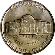 USA 5 Cents Monticello 1952 KM# A192 E PLURIBUS UNUM UNITED STATES OF AMERICA FIVE CENTS MONTICELLO coin reverse