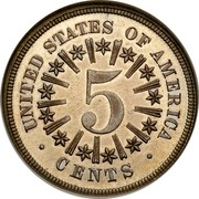 USA 5 Cents Shield Nickel 1866 KM# 96 UNITED STATES OF AMERICA 5 CENTS coin reverse