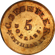 USA 5 Dollars 1834 KM# 97.2 Christopher Bechtler (North Carolina) C. BECHTLER. AT RUTHERF: 5 DOLLARS ∙ coin obverse