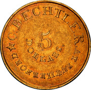 USA 5 Dollars 1834 KM# 96.2 Christopher Bechtler (North Carolina) C. BECHTLER. AT RUTHERFORD / 5 / DOLLARS coin obverse