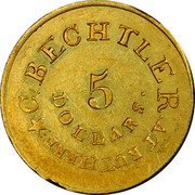USA 5 Dollars 1834 KM# 97.1 Christopher Bechtler (North Carolina) * C. BECHTLER. AT RUTHERF: 5 DOLLARS ∙ coin obverse