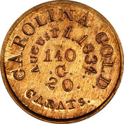 USA 5 Dollars 1834 KM# 97.2 Christopher Bechtler (North Carolina) CALIFORNIA GOLD. 20 CARATS AUGUST 1.1834. 140 ∙ G. coin reverse