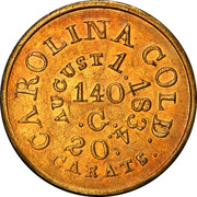 USA 5 Dollars 1834 KM# 96.2 Christopher Bechtler (North Carolina) CAROLINA GOLD / 20 / CARATS coin reverse