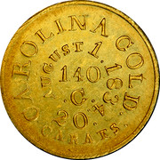 USA 5 Dollars 1834 KM# 97.1 Christopher Bechtler (North Carolina) CAROLINA GOLD. 20 CARATS AUGUST 1.1834 140. G. coin reverse