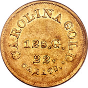 USA 5 Dollars (1842-52) KM# 85 August Bechtler CAROLINA GOLD. 22 CARATS 128. G. * coin reverse