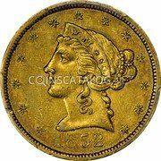 USA $5 Five Dollars Wass Molitor Five Dollars (Small head) 1852 KM# 55 W. M. & CO coin obverse