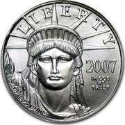 USA $50 American Eagle 2007 W Burnished Unc. KM# 285 LIBERTY E PLURIBUS UNUM IN GOD WE TRUST coin obverse