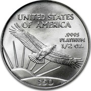 USA $50 American Eagle 2007 W Burnished Unc. KM# 285 UNITED STATES OF AMERICA .9995 PLATINUM 1/2 OZ. $50 W coin reverse
