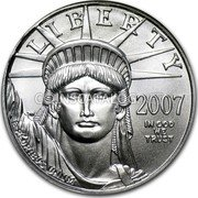 USA $50 Fifty Dollars American Platinum Eagle 2007 W Burnished Unc. KM# 285 LIBERTY E PLURIBUS UNUM IN GOD WE TRUST coin obverse