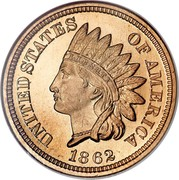USA Cent Indian Head 1862 KM# 90 UNITED STATES OF AMERICA LIBERTY coin obverse