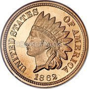 USA Cent Indian Head Cent 1862 KM# 90 UNITED STATES OF AMERICA LIBERTY coin obverse