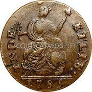 USA Connecticut Copper Bust Facing Right Connecticut Copper 1785 KM# 1 INDE: ETLIB: coin reverse