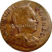 USA Connecticut Copper Large Head Facing Right Connecticut Copper 1786 KM# 6 AUCTORI. CONNEC. coin obverse