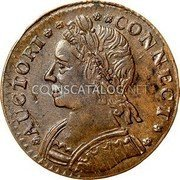 USA Connecticut Copper Horned Bust Connecticut Copper 1787 KM# 16 * AUCTORI * * * * CONNECT * * coin obverse