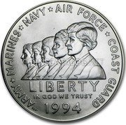 USA Dollar Women In Military Service Memorial 1994 W KM# 252 ARMY MARINES NAVY AIR FORCE COAST GUARD LIBERTY IN GOD WE TRUST coin obverse