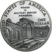 USA Dollar Women In Military Service Memorial 1994 W KM# 252 UNITED STATES OF AMERICA ONE DOLLAR E PLURIBUS UNUM WOMAN IN MILITARY SERVICE MEMORIAL coin reverse