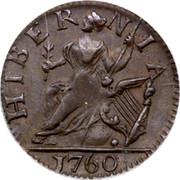 USA Farthing 1760 Large letters KM# Tn21.1 Hibernia Voce Populi HIBERNIA coin reverse