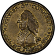 USA Farthing 1766 KM# Tn23 William Pitt tokens THE RESTORE OF ∙ COMMERCE NO STAMPS coin obverse