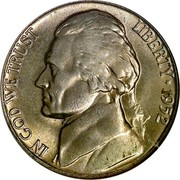 USA Five Cents Monticello 1952 KM# A192 LIBERTY IN GOD WE TRUST coin obverse