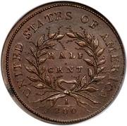 USA Half Cent Liberty Cap 1793 KM# 10 UNITED STATES OF AMERICA HALF CENT 1/200 coin reverse