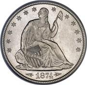 USA Half Dol. Seated Liberty 1874 KM# 107 LIBERTY coin obverse