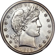 USA Half Dollar Barber 1895 S KM# 116 IN GOD WE TRUST coin obverse