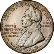 USA Half Dollar Hawaiian Sesquicentennial 1928 KM# 163 • UNITED • STATES • OF • AMERICA • IN GOD WE TRUST HALF DOLLAR CAPT. JAMES COOK DISCOVERER ON HAWAII coin obverse
