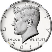 USA Half Dollar Kennedy 2017 S KM# A202c LIBERTY IN GOD WE TRUST coin obverse