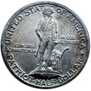 USA Half Dollar Lexington-Concord Sesquicentennial 1925 KM# 156 UNITED STATES OF AMERICA PATRIOT HALF DOLLAR CONCORD MINUTE-MAN IN GOD WE TRUST coin obverse