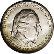 USA Half Dollar Vermont Sesquicentennial 1927 KM# 162 UNITED • STATES • OF • AMERICA FOUNDER OF VERMONT IRA ALLEN coin obverse