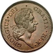 USA Halfpenny Hibernia Harp Right 1723 KM# 26 GEORGIUS ∙ DEI ∙ GRATIA ∙ REX ∙ coin obverse