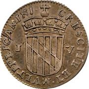 USA IV Pence (Groat) Lord Baltimore (1659) KM# 3 CRESCITE : ET : MVLTIPLICAMINI ∙ IV coin reverse