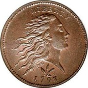 USA One Cent (Flowing Hair) KM# 12 LIBERTY coin obverse