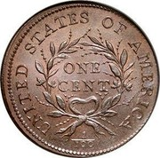 USA One Cent (Flowing Hair) KM# 12 UNITED STATES OF AMERICA ONE CENT 1/100 coin reverse