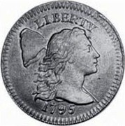 """USA One Cent Liberty Cap 1795 lettered edge, """"One Cent"""" high in wreath KM# 13a LIBERTY coin obverse"""