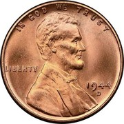 USA One Cent Lincoln 1944 D KM# A132 IN GOD WE TRUST LIBERTY coin obverse